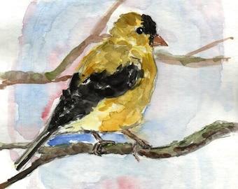 "Yellow bird original painting, watercolor original bird art, 8''1/2 x 11"" 3/4 original painting."