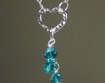 DECEMBER BIRTHSTONE Heart Cascade Necklace