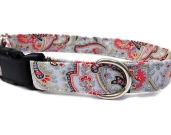 Grey Paisley dog collar, Pink dog collar, girl dog collar,  designer dog collar, female dog collar, medium dog collar, chic dog collar