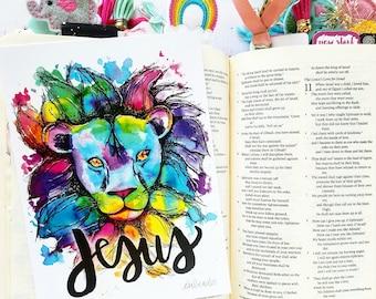 JESUS Rainbow Lion of Judah 5x7 Print Hymn Fine Art Hymnal Watercolor Ink Painting Praise Sheet Music Hand Lettering Calligraphy War Room