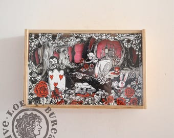 Shadow Box Painting the Roses Red - 3D Illustration Paper 7,8 x 12,2 inch - Alice in Wonderland white rabbit cheshire cat queen of hearts