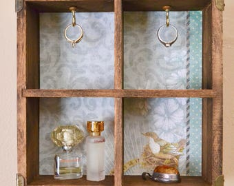 Rustic Jewelry Box Upcycled Floating Shelf Hook Rack Ring Holder