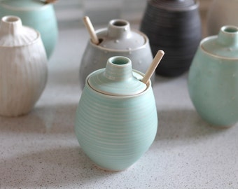 Pottery Honey Pot - Grooved Seafoam Green Ceramic Pot