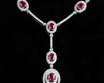 Ruby Diamond Necklace 18ct 2.38ct Diamond 3.25ct Ruby