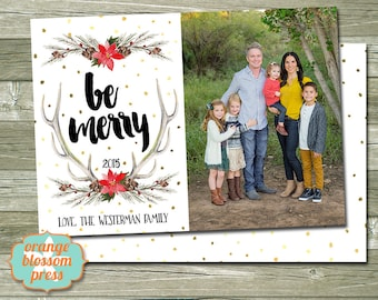 Photo christmas card custom holiday photo card christmas photo christmas holiday card personalized christmas card antlers watercolor gold foil dots m4hsunfo