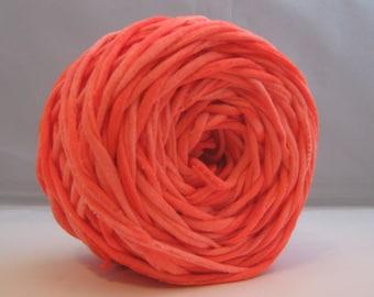 T Shirt Yarn, Hand Dyed, Marbled Neon Orange, 60 Yards, Neon Orange T-Shirt Yarn, Neon Yarn