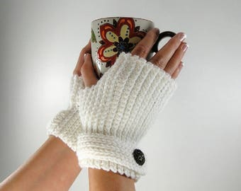 Fingerless Gloves Crochet Pattern #403 - Knit Look Fingerless Gloves Crochet Pattern - Women's and Men's Sizes - Instant Download PDF