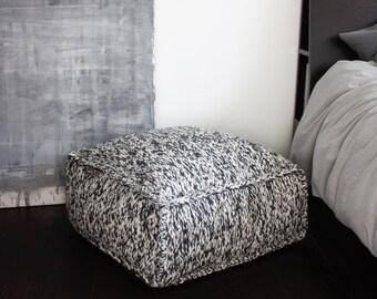 wool footstool, knitting ottoman, wool pouf, knit pouf, square knitted pouf, crochet kids room square pouf, grey wool chair, nursery pouf