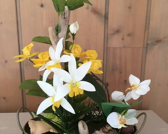 Artificial arrangement in shades of yellow, Orchid, eucalyptus and Driftwood