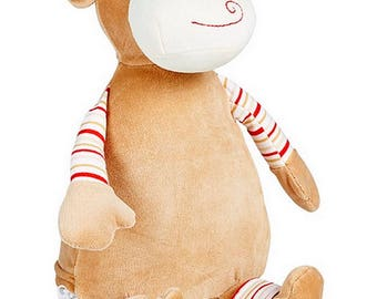 Personalised Pastel Monkey Children's Soft Toy,  Keepsake Gift for Celebration of Birth, Birthdays, Christening, Baby Shower