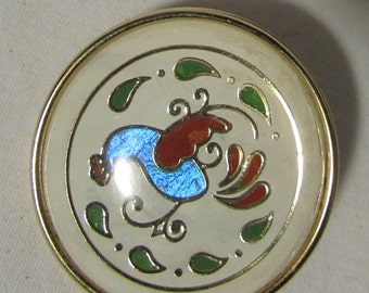 Brooch/Pin, Abstract Rooster, Brass Frame-Backing-Pin Closure, 1980's
