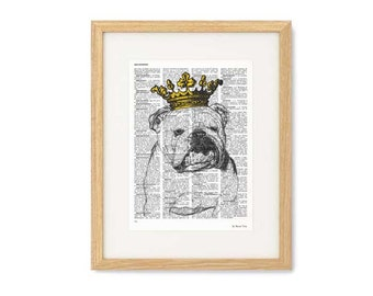 English bulldog with crown print-English bulldog print-funny dog print-bulldog book art-dictionary print-pet lovers gift-NATURA PICTA-NPDP86