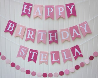 happy birthday banner pink birthday banner photo backdrop girl birthday banner personalized bannercircle garland cake smash