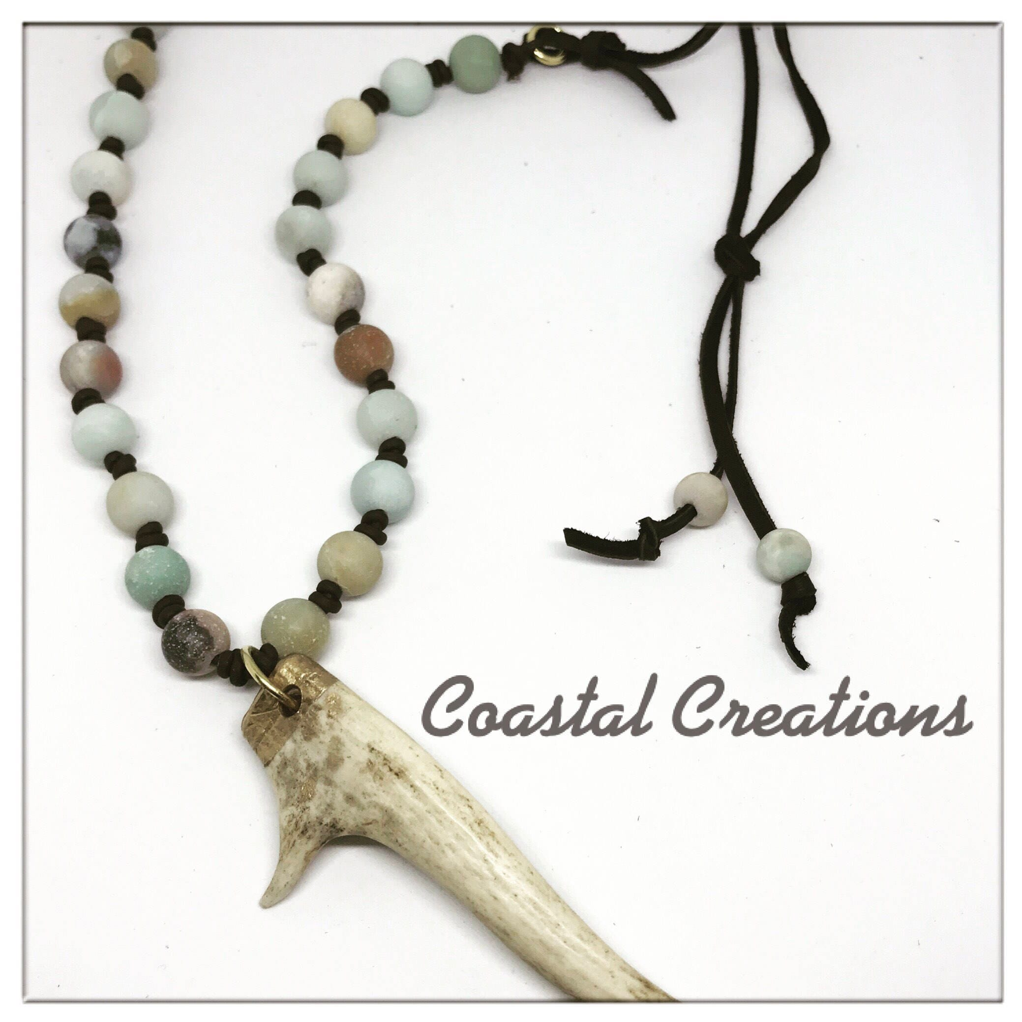 deer necklace horn antler jewelry rustic boho pin
