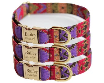 Laser Engraved Dog Collar - Personalized Collar - Egyptian(Shown with optional Engraving)
