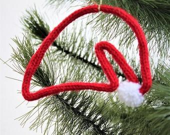Christmas ornament - ornament Christmas tree - home window - Christmas Hat - Santa Hat - knitting-