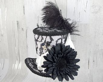 Black and White Lace and Flower Large Mini Top Hat Fascinator, Alice in Wonderland, Mad Hatter Tea Party, Derby Hat