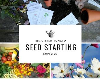 Seed starting supplies, 6 peat pots & 6 peat pellets, 6 plant labels seed kit, gardening diy kit, gift for beginner garden