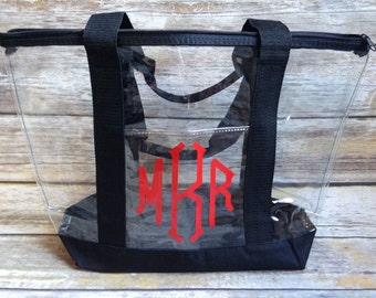 Monogrammed Clear Tote, Clear Tote, Clear Bag, Clear Purse