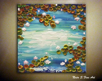"""Water Lilies Painting, Abstract Textured Art, Palette Knife Art, Modern Water Lilies Painting, Home Wall Decoration 12"""" x 12"""" by Nata S."""