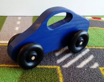 Toy Wooden Blue Car - Handcrafted Wooden Dark Blue Toy Car - Fits Small Hands - Baby Toy Car with Window Handle - Toddler Toy Car Dark Blue