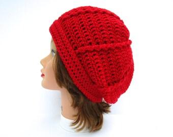 Women's Slouchy Hat, Crochet Tam Hat, Red Hat, Crochet Hat, Women's Hat, Crochet Beanie Hat, Slouchy Beanie Women, Winter Hats For Women