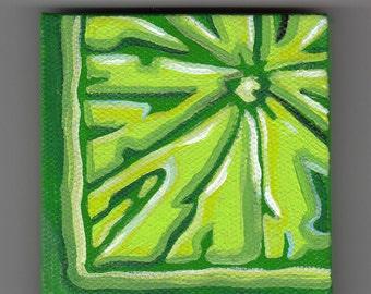 Citrus / Fruit/ Lime / Green / 2x2 /Tiny Original Canvas Painting / Magnet /Kitchen Decor