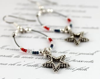 Independence Day Earrings - Beaded Hoop Earrings - Red White and Blue Jewelry - Star Earrings - Seed Bead Jewelry - Fourth Of July Jewelry