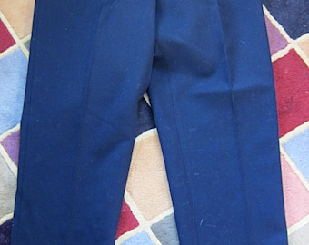 33 Waist, Swedish Worsted Wool Military Pants, Navy Blue / Gabardine, Button Fly, Uniform, Suspenders