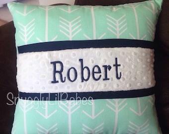 Mint arrow, navy pillow, black trim and white minky dot pillow cover