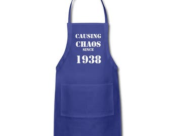 80th Birthday, 80th Birthday Gift Ideas - Unique Apron - Causing Chaos Since 1938 Apron Gift -  Memorable Birthday Gifts