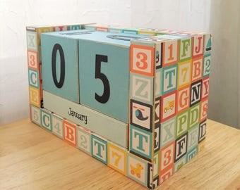 Perpetual Wooden Block Calendar - Letter Alphabet Blocks Toys - Boy Gift - Shower Gift - Gifts for 20 - Ready to Ship