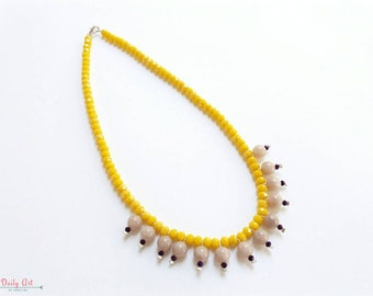 Yellow, artisan, bohemian necklace, with glass beads