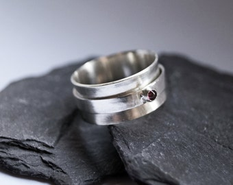 Gemstone Wide Sterling Silver Spinner Ring ~ fidget ring, spinner ring, meditation ring gemstone, garnet, statement, birthstone, anxiety