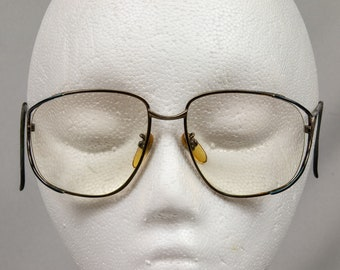 1980s glass frames Gold and green Eyeglasses or sunglasses  Excellent condition Large women's glasses