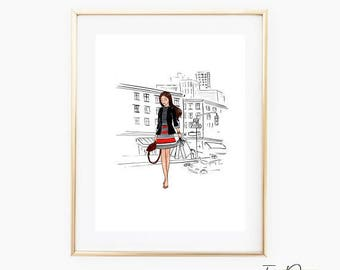 NY Shopping girl fashion wall art Shopping girl fashion illustration fashion sketch Vanity print chic girl in shopping