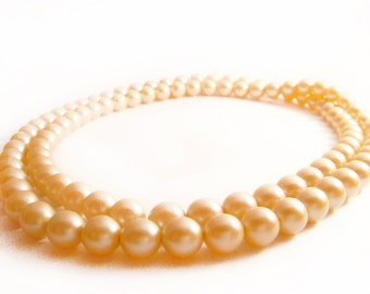 Peach Pearl Necklace, Pink Faux Pearl Vintage Necklace, Preppy Chic Traditonal Stylish Fashionable Wear, Costume Jewelry