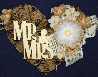 Mr & Mrs. Burlap 7 Ft Grapevine Heart with Lace, Burlap and Linen Flowers Backdrop for Wedding, Swag, Banner Bride and Groom