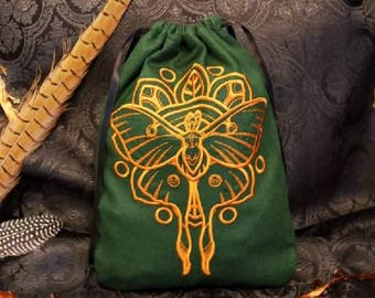 Embroidered bag with wool moth motif