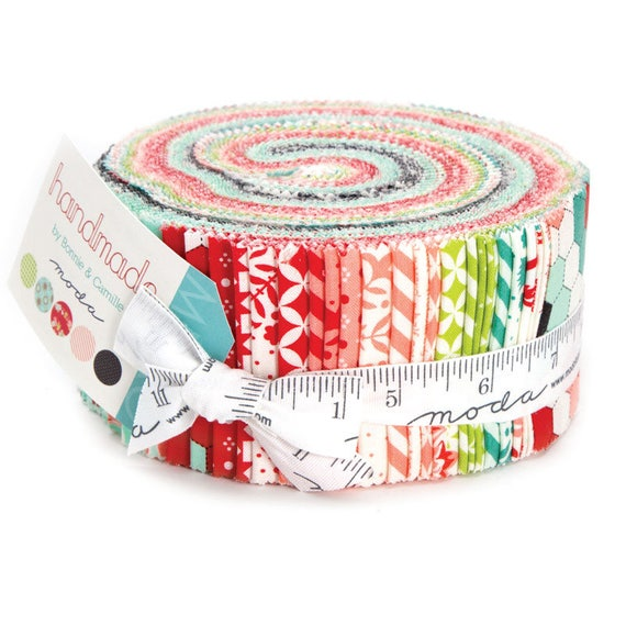 Handmade Jelly Roll of 40 Fabrics by Bonnie and Camille's 2016 Quilt Fabric Collection From Moda 55140JR