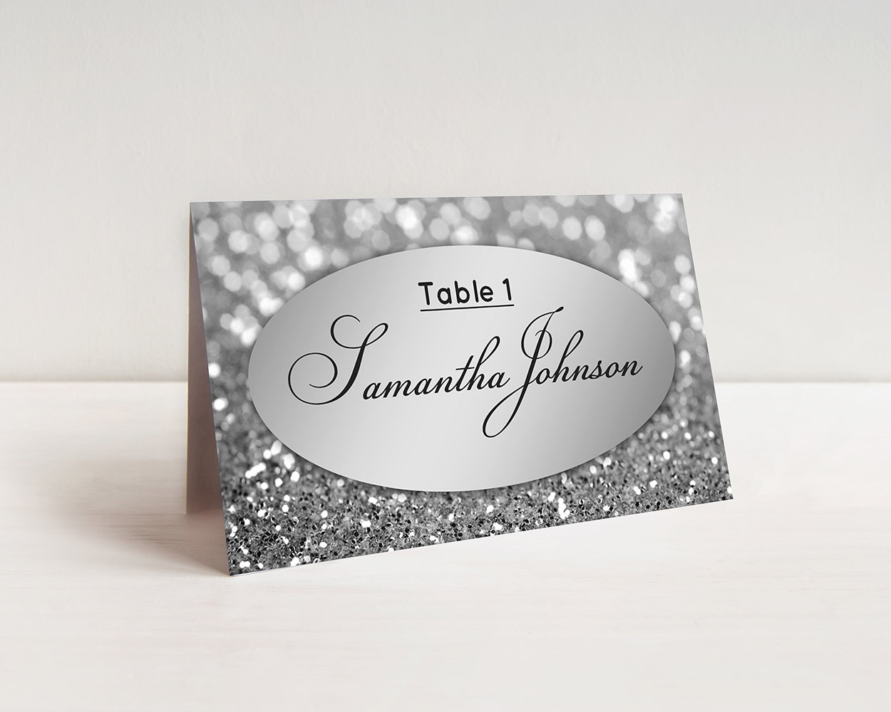 Wedding Place Cards Template Printable Escort Cards Silver