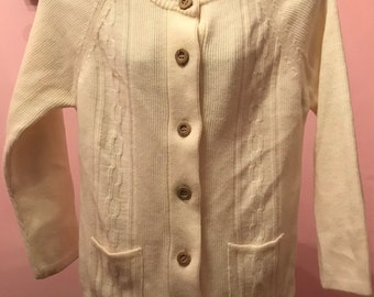 70s Acrylic Knit Button Down Cardigan Sweater with POCKETS Size Large
