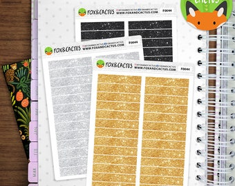 Glitter Headers - Gold Silver and Black Glitter - Planner Stickers (F0044)