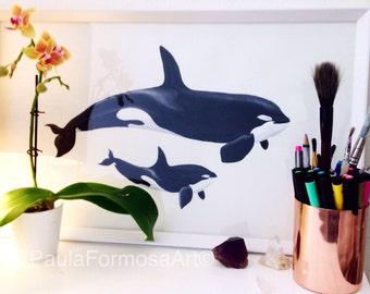 Orca Print - Watercolour Painting