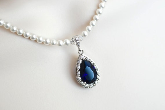 Blue Sapphire Necklace Bridal Necklace Bridal Pearl And Blue
