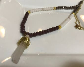 Maroon and White Handmade Beaded Necklace with Gold Accents and Gold Wire-Wrapped Crystal