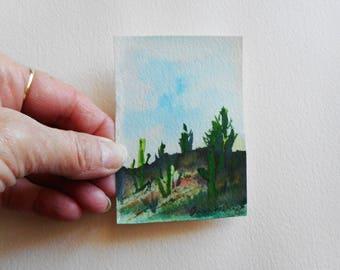 Aceo original watercolor landscape art,dessert landscape minature art,arizona landscape,minature painting,dessert minature art,frameable art
