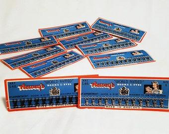Lot of 10 Vintage Neweys Hook & Eye Unused Sewing Cards