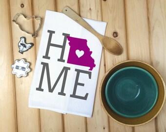 Missouri State Flour Sack Towel, Missouri State Tea Towel, Flour Sack Tea Towel, Housewarming Gift, Wedding Gift, Personalized towels