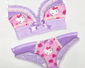 Pastel Hello Kitty Bra - Pick Your Size - LIMITED EDITION - Handmade Vegan Bridal